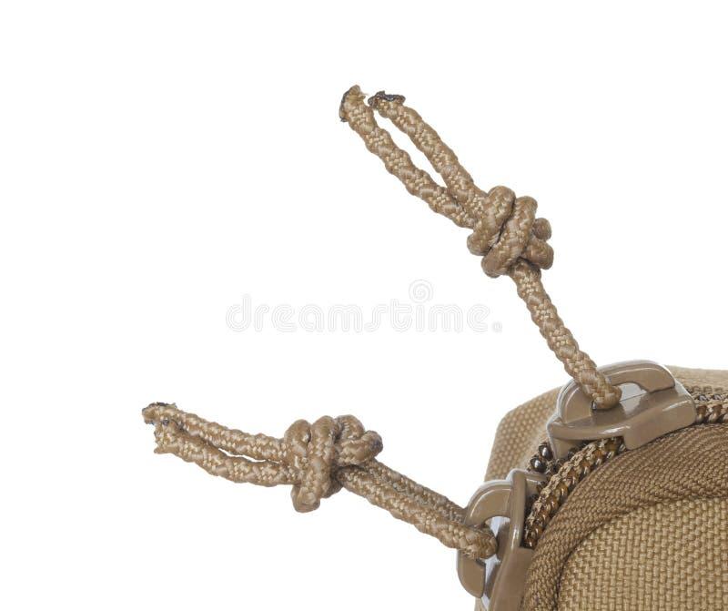 De nylon ritssluiting trekt op wit royalty-vrije stock foto