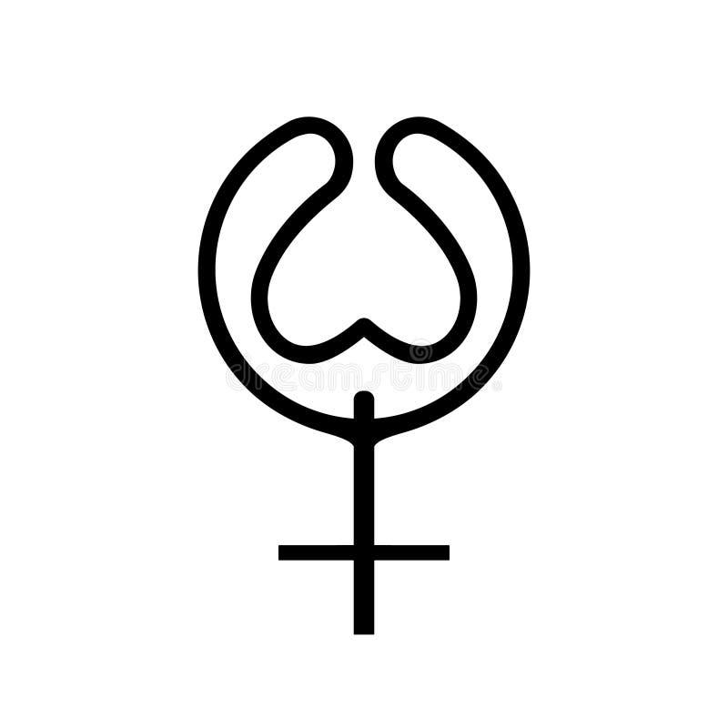 De nymfomanieconcept van de pictogram zwart lijn Het gestileerde Teken vrouwelijke geslacht drukt de verslaving van de geslachtsv stock illustratie