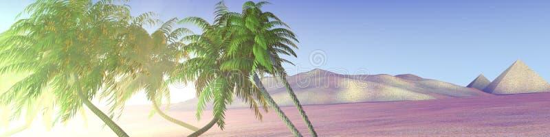 De oase van de panoramawoestijn met palmen en piramides stock illustratie