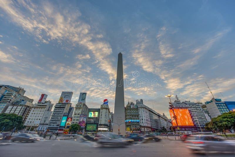 De Obelisk (Gr Obelisco) in Buenos aires royalty-vrije stock foto's