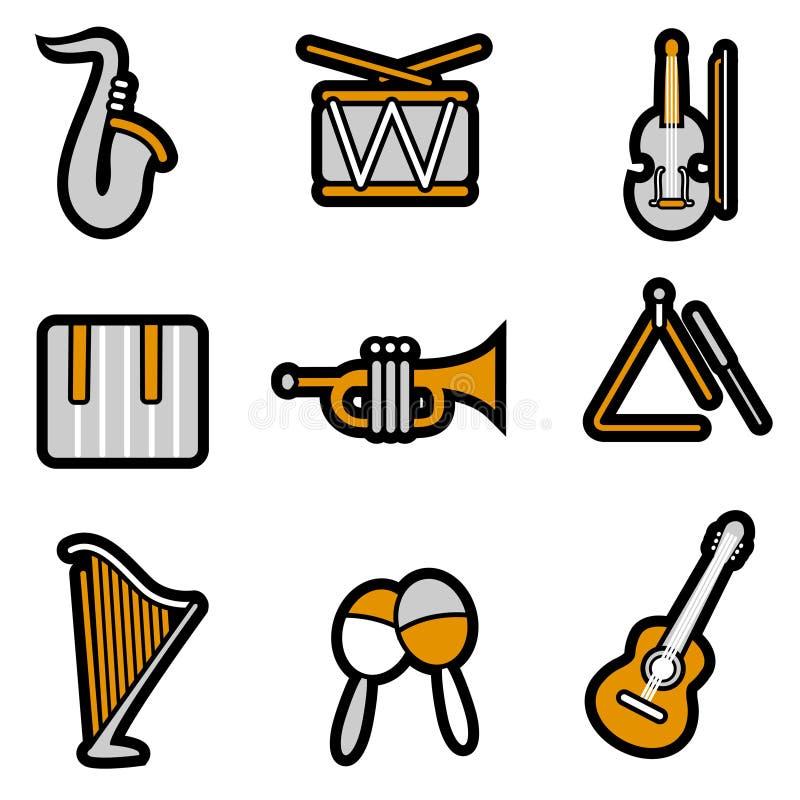 De objecten van de muziek pictogramreeks vector illustratie