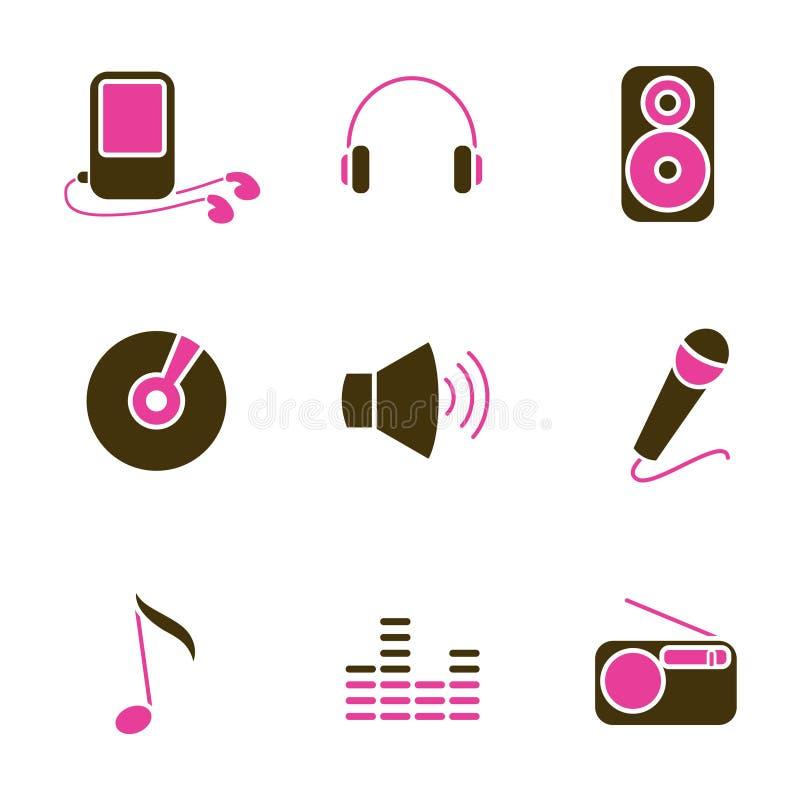 De objecten van de muziek pictogramreeks royalty-vrije illustratie