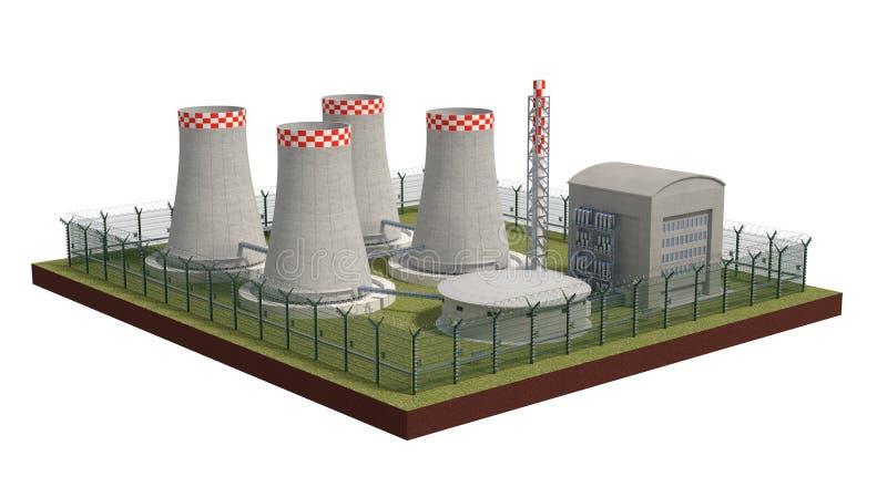De objecten van de omheiningsveiligheid kernenergieinstallatie met macht van opsluiting 3D Illustratie royalty-vrije illustratie