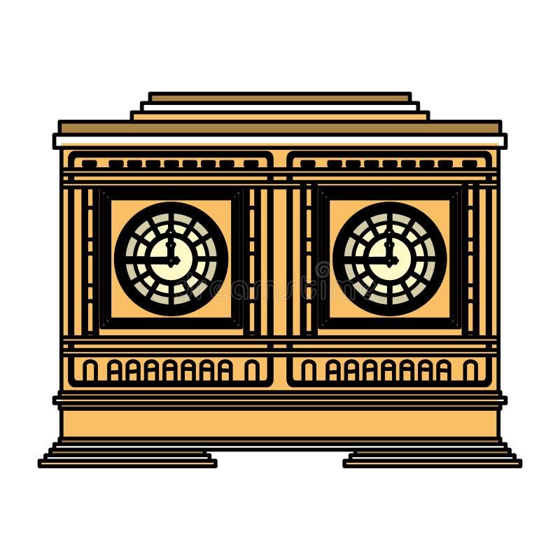 De objecten van de kleuren middeleeuws klok structuurontwerp stock illustratie