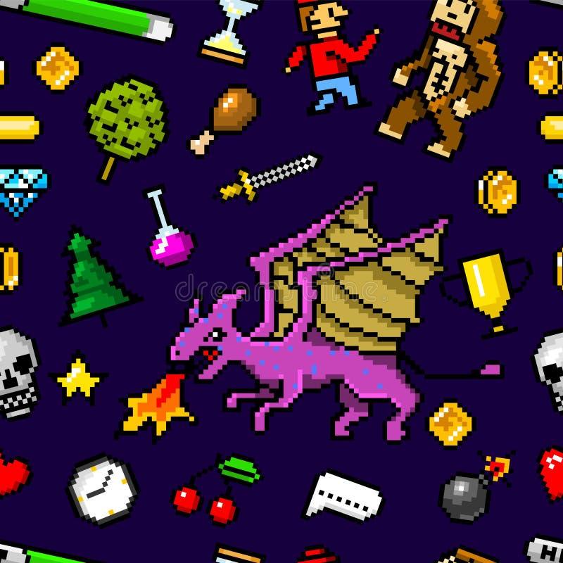 De objecten van de pixelkunst Naadloos patroon met 8 bits Retro spelactiva Reeks pictogrammen uitstekende computer videoarcades k vector illustratie