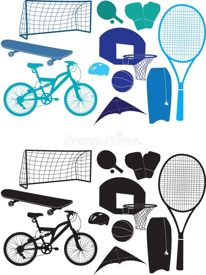 De objecten van sporten silhouetten royalty-vrije illustratie