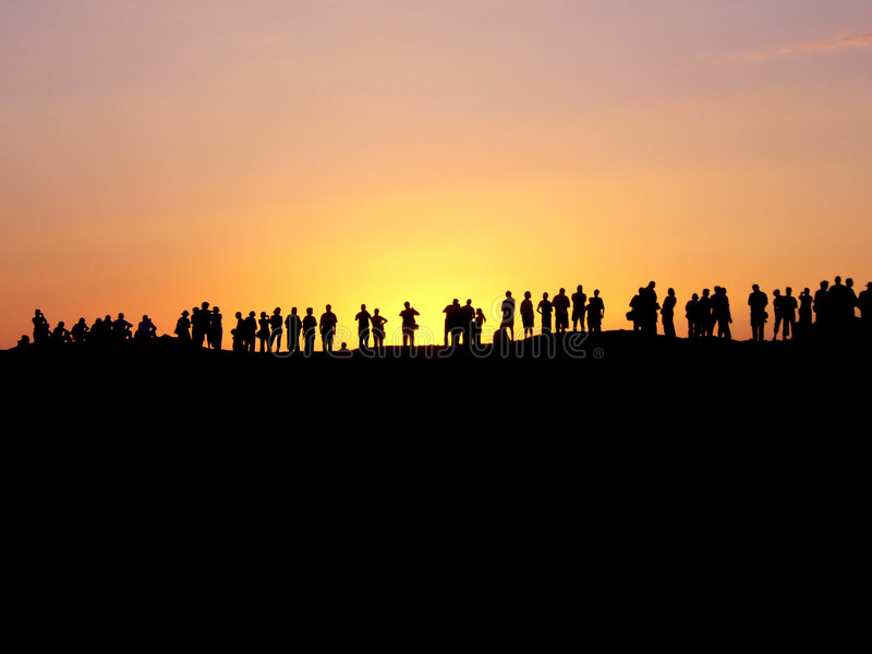 De observateurs van de zonsondergang royalty-vrije stock afbeelding