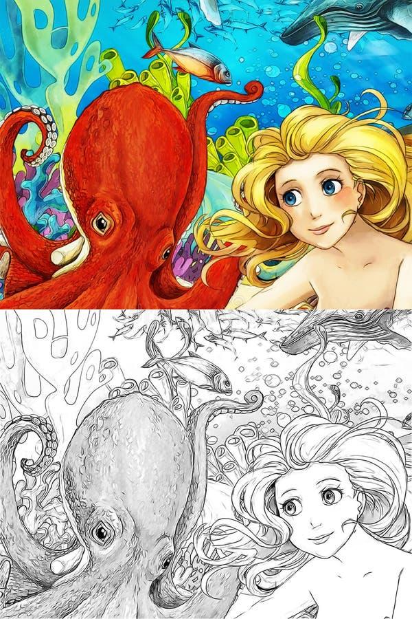 De oceaan en de meerminnen royalty-vrije illustratie
