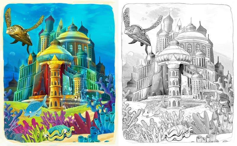 De oceaan en de meerminnen - kleurende pagina vector illustratie