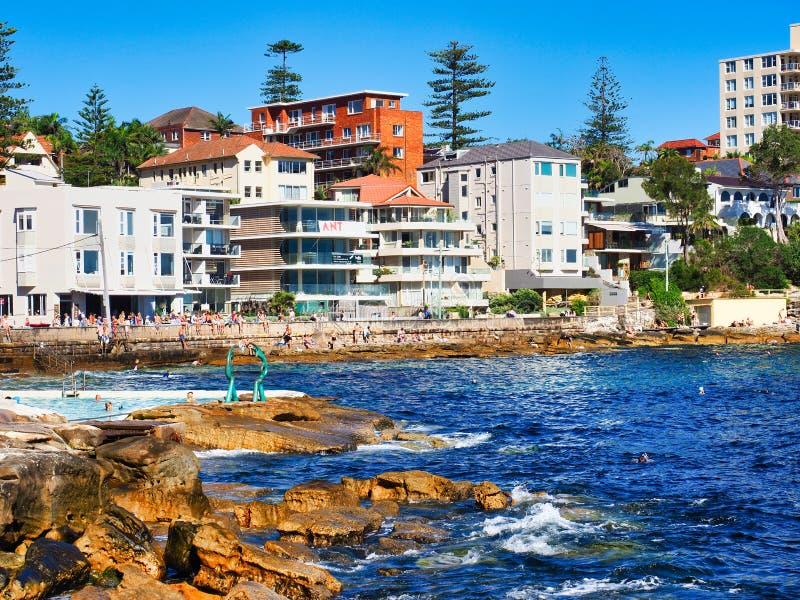De Oceaan Mannelijke Pool van de Koolpalmbaai, Sydney, Australië stock foto