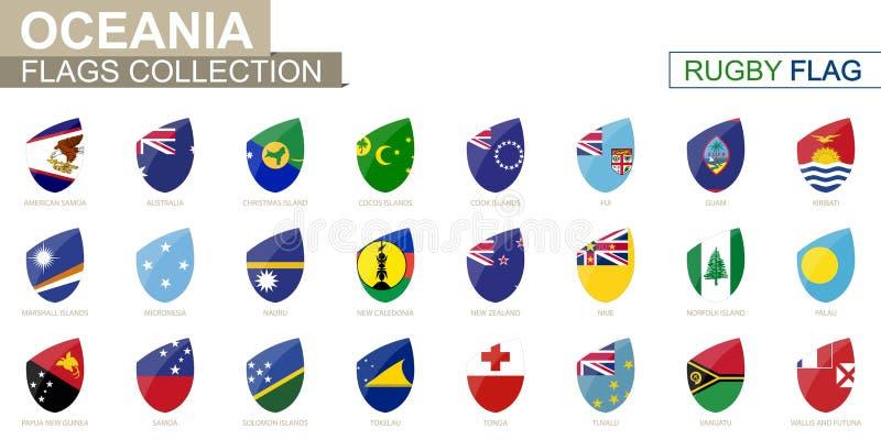 De Oceanianlanden markeert inzameling De reeks van de rugbyvlag stock illustratie