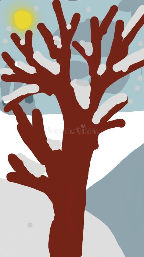De ochtend van de beeld Zonnige winter royalty-vrije illustratie