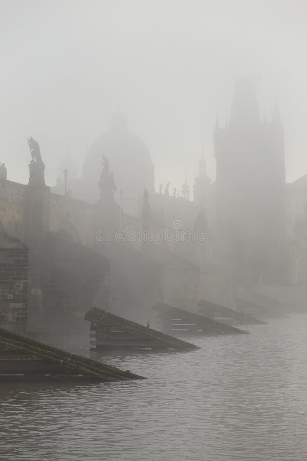 De ochtendherfst mistig Praag gotisch Charles Bridge met Oude Stad, Tsjechische Republiek stock afbeeldingen