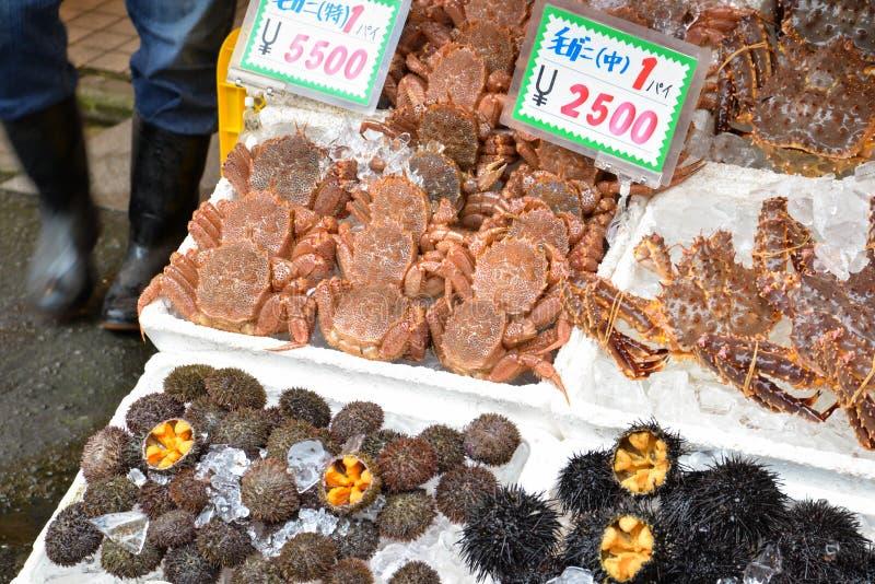 De ochtendmarkt van Hakodate, Hokkaido, Japan royalty-vrije stock afbeelding