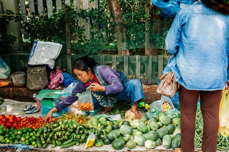 De ochtendmarkt van Luangprabang met plantaardig en vers lokaal product royalty-vrije stock foto