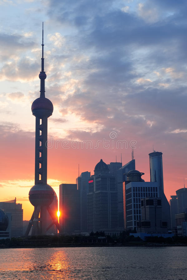 De ochtendzonsopgang van Shanghai royalty-vrije stock afbeelding