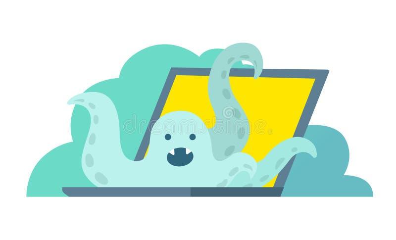De octopus beklimt uit laptop De systeemfout in laptop heldendicht ontbreekt vector illustratie