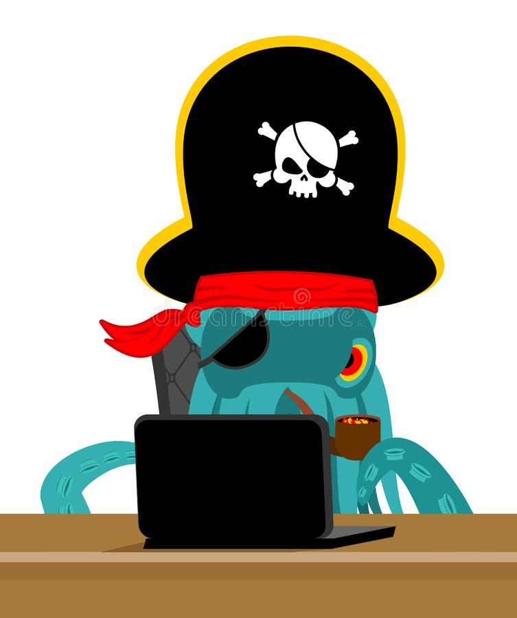 De Octopus en laptop van de Webpiraat poulpe Internet-hakker en PC DE royalty-vrije illustratie