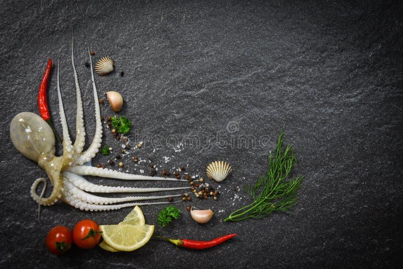 De octopus ruw oceaan gastronomisch diner van de zeevruchten vers pijlinktvis met kruiden en kruiden stock afbeeldingen