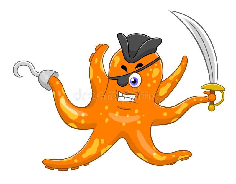 De octopus van de beeldverhaalpiraat stock illustratie