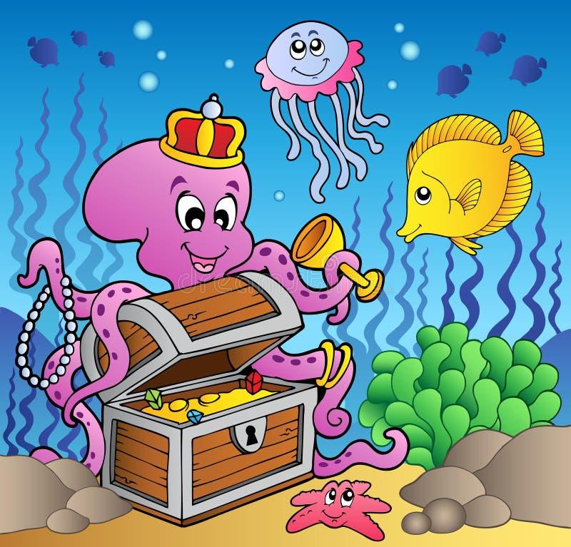 De octopus van het beeldverhaal op schatborst vector illustratie