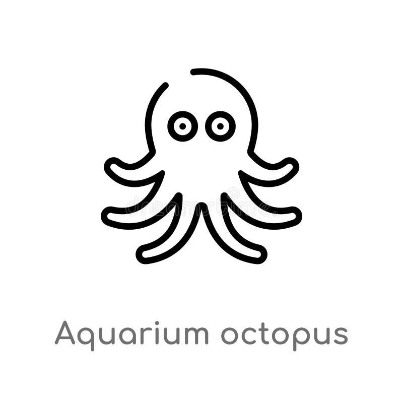 de octopus vectorpictogram van het overzichtsaquarium de geïsoleerde zwarte eenvoudige illustratie van het lijnelement van dieren stock illustratie