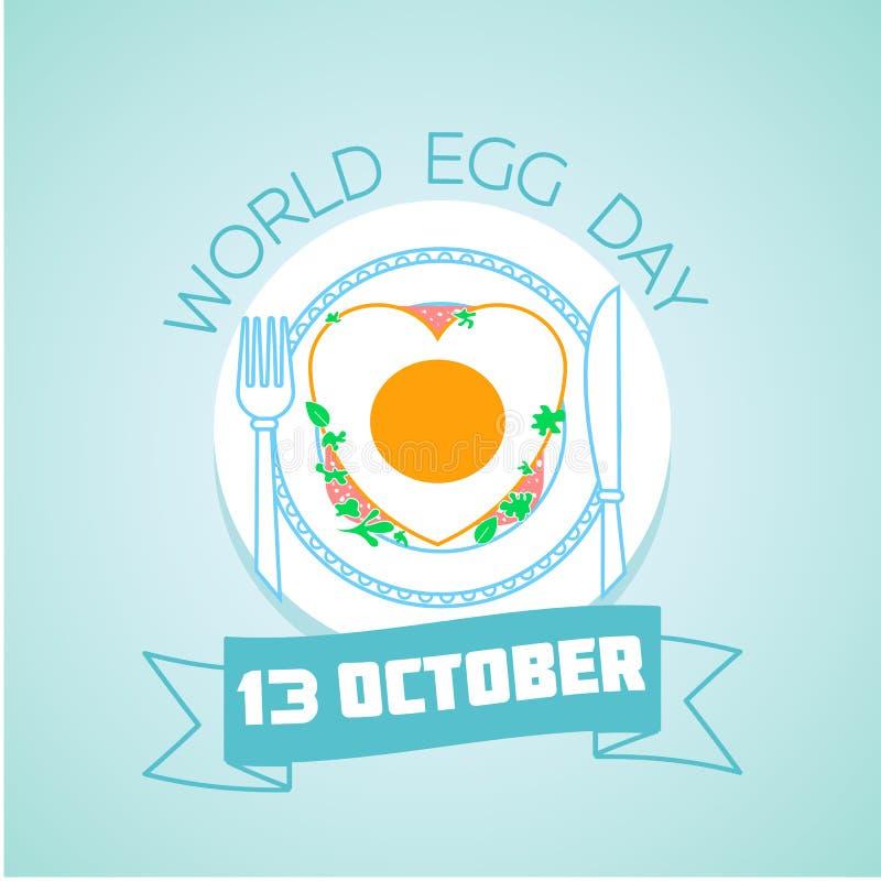 13 de octubre día del huevo del mundo ilustración del vector