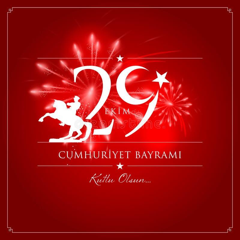 29 de octubre día nacional de la república de Turquía ilustración del vector