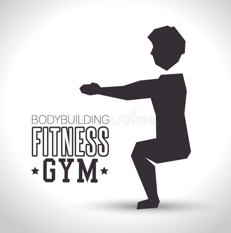de oefening van de silhouetmens hurkt bodybuilding het pictogramontwerp van de geschiktheidsgymnastiek vector illustratie
