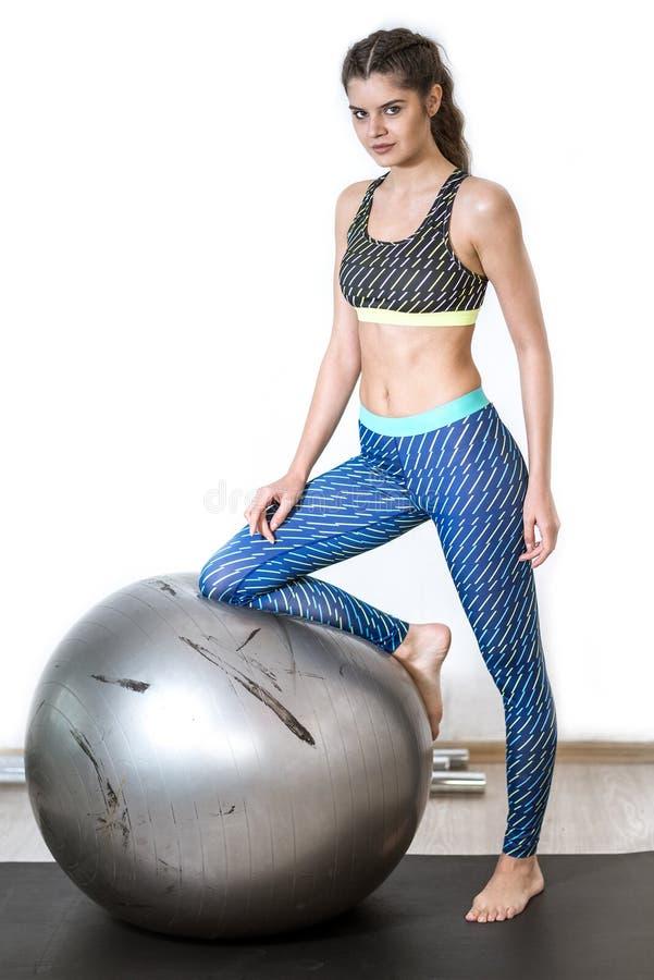 De oefening van de yogabal royalty-vrije stock foto