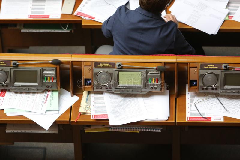 09 04 2019 de Oekraïne kiev Verkhovna Rada van de Oekraïne De werkplaats van de afgevaardigde van de mensen van de Oekraïne royalty-vrije stock fotografie