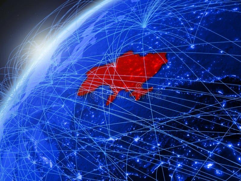 De Oekraïne op blauwe Aarde met netwerk vector illustratie