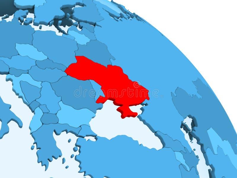 De Oekraïne op blauwe bol vector illustratie