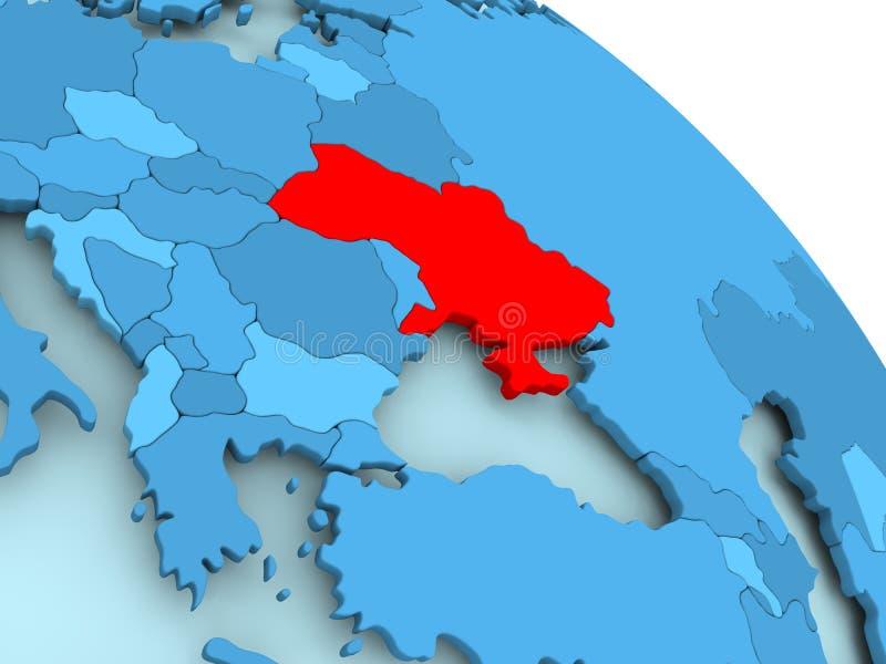 De Oekraïne op blauwe bol royalty-vrije illustratie