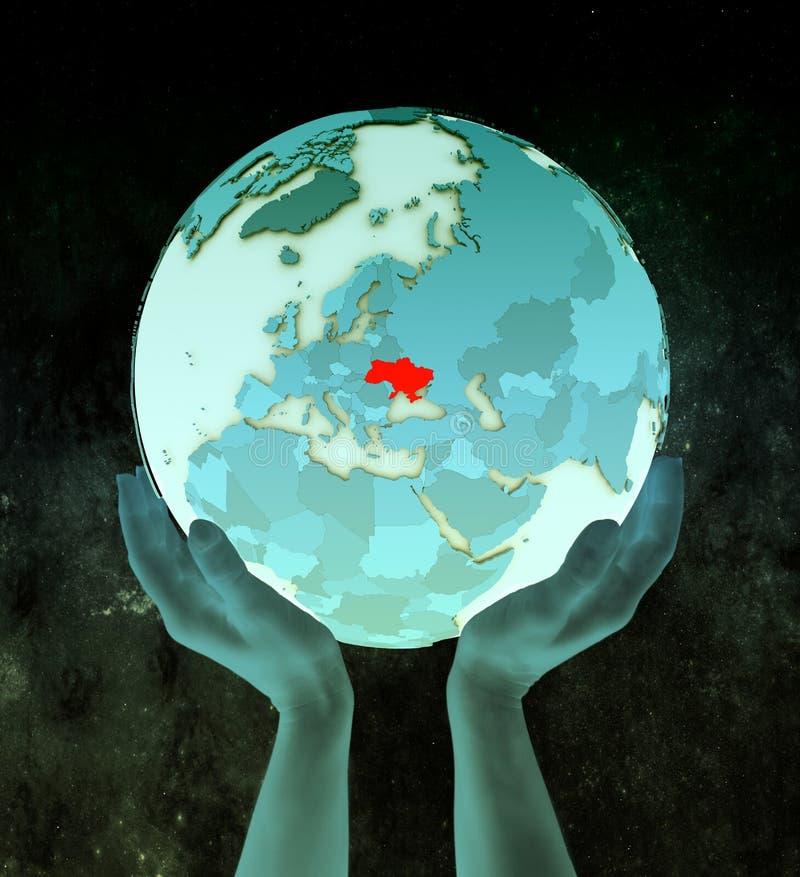 De Oekraïne op blauwe bol in handen royalty-vrije illustratie