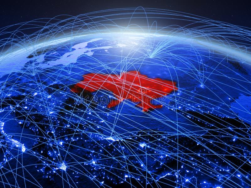 De Oekraïne op blauwe digitale aarde met internationaal netwerk die mededeling, reis en verbindingen vertegenwoordigen 3d royalty-vrije stock fotografie