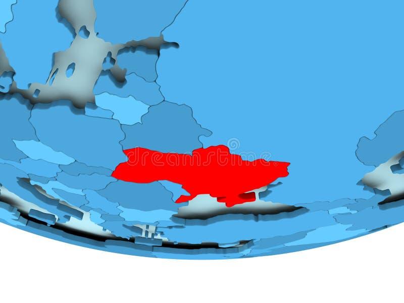 De Oekraïne in rood op blauwe kaart royalty-vrije illustratie