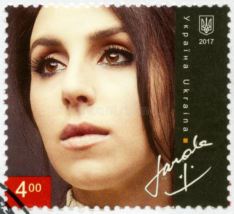 De OEKRAÏNE - 2017: toont Susana Alimivna Jamaladinova, Jamala, Oekraïense zanger, actrice en songwriter stock foto's
