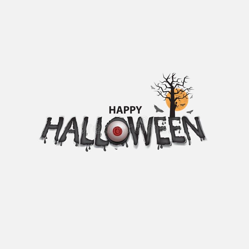 De ogen & Halloween-de bannerkalligrafie De Truc van Halloween of behandelt vector illustratie
