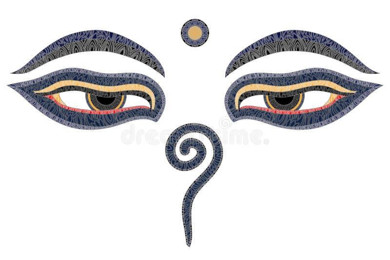 De ogen van Boedha, Nepal royalty-vrije illustratie
