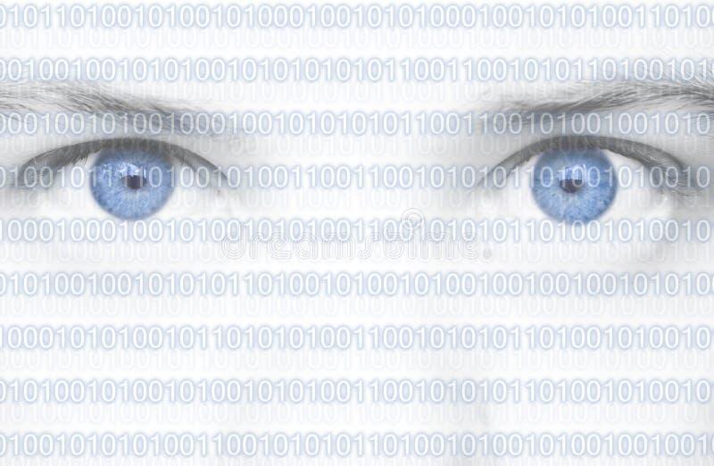 De Ogen van de binaire Code stock afbeelding