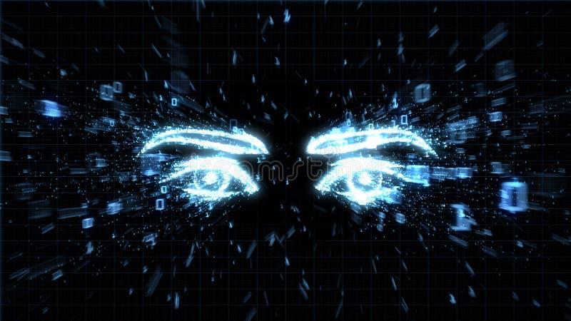 De ogen van een hakker, spyware en privacykwesties vector illustratie