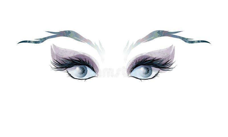 De ogen van vrouwen en wenkbrauwen, abstractie royalty-vrije illustratie
