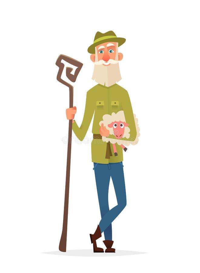 De Olderylandbouwer houdt een lam in zijn wapens Karakter modern ontwerp stock illustratie