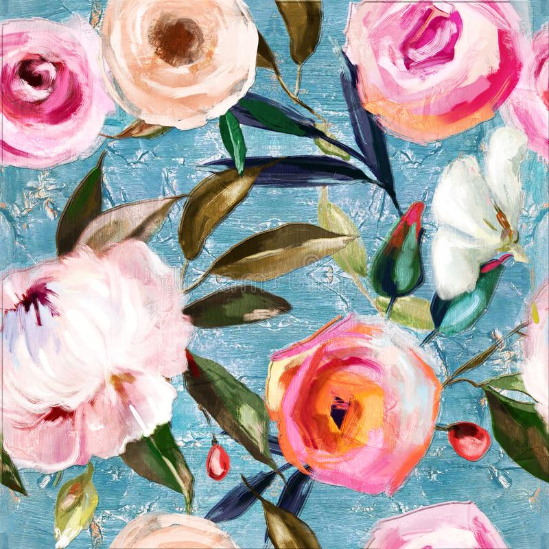 De olie schilderde naadloos bloemenpatroon vector illustratie