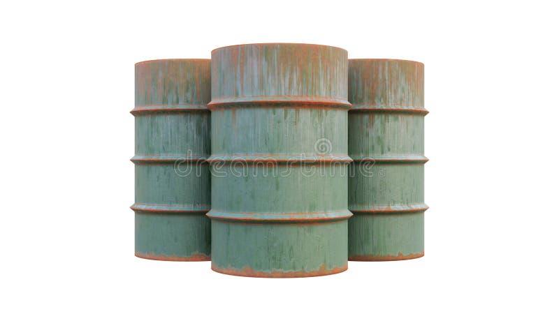 De olie trommelt oud en roestig Metaaltanks, de containers op witte achtergrond worden geïsoleerd die vector illustratie