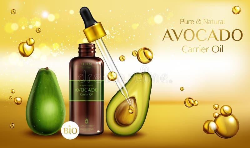 De olie van avocadoschoonheidsmiddelen Organisch schoonheidsproduct royalty-vrije illustratie