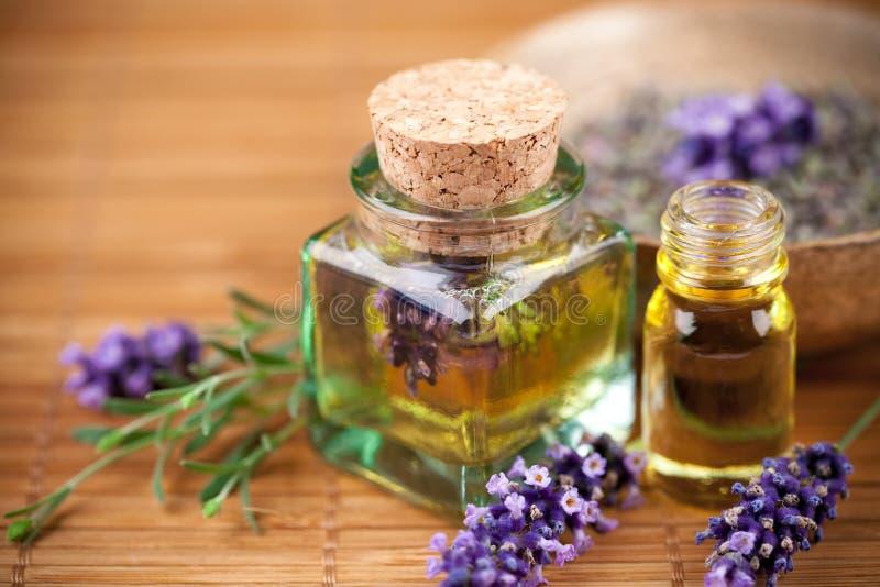 De olie van de lavendel stock afbeeldingen