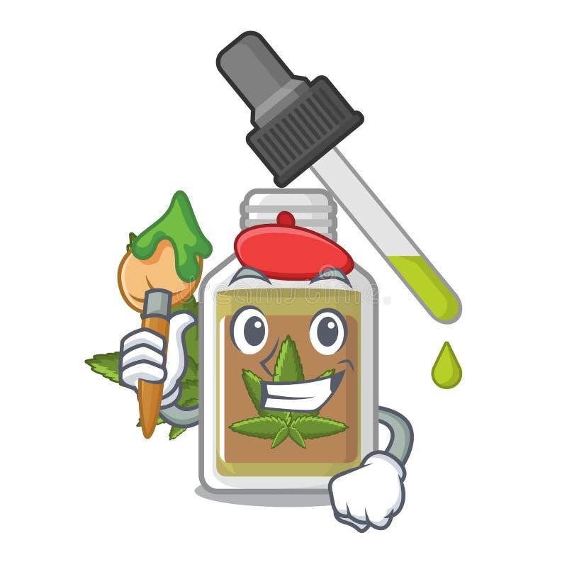 De olie van de kunstenaarshennep in de karakterfles vector illustratie