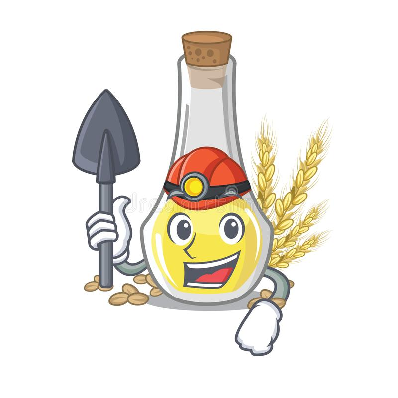 De olie van de mijnwerkerstarwekiem in een beeldverhaal stock illustratie